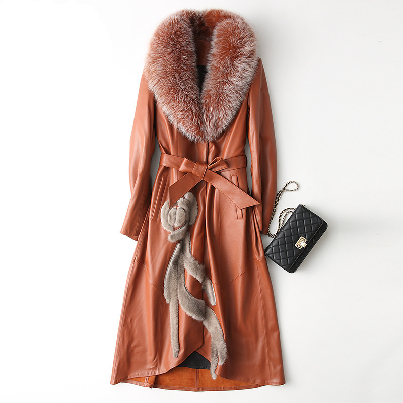 Jacket Leather Genuine 2020 Winter Jacket Women Real Fox Fur Collar Long Down Jackets 100% Real Sheepskin Coat MY3819 S