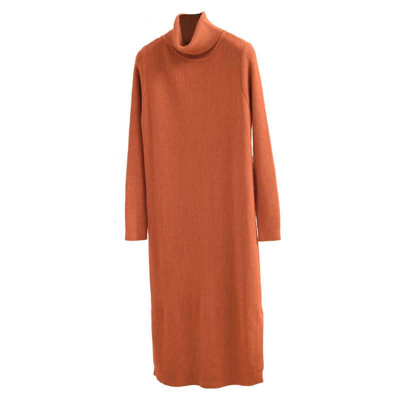2020 Trui Jurk Vrouwen Gebreide Herfst Winter Jurk Mode Coltrui Zwarte Dames Jurken Lange Vestido Mujer KJ3916