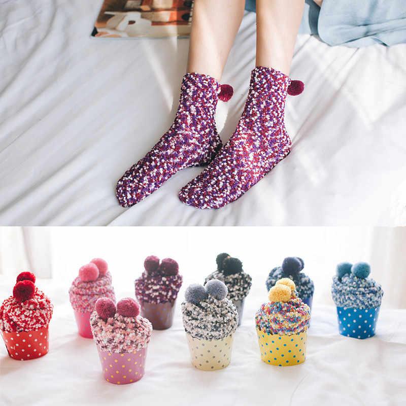 Cup Cake Slapen Sokken Voor Winter Herfst Vrouwen Sokken Dikke Warme Vrouwelijke Tube Sokken Zonder Doos