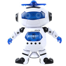 Children dancing electric robot rotating light music dazzle