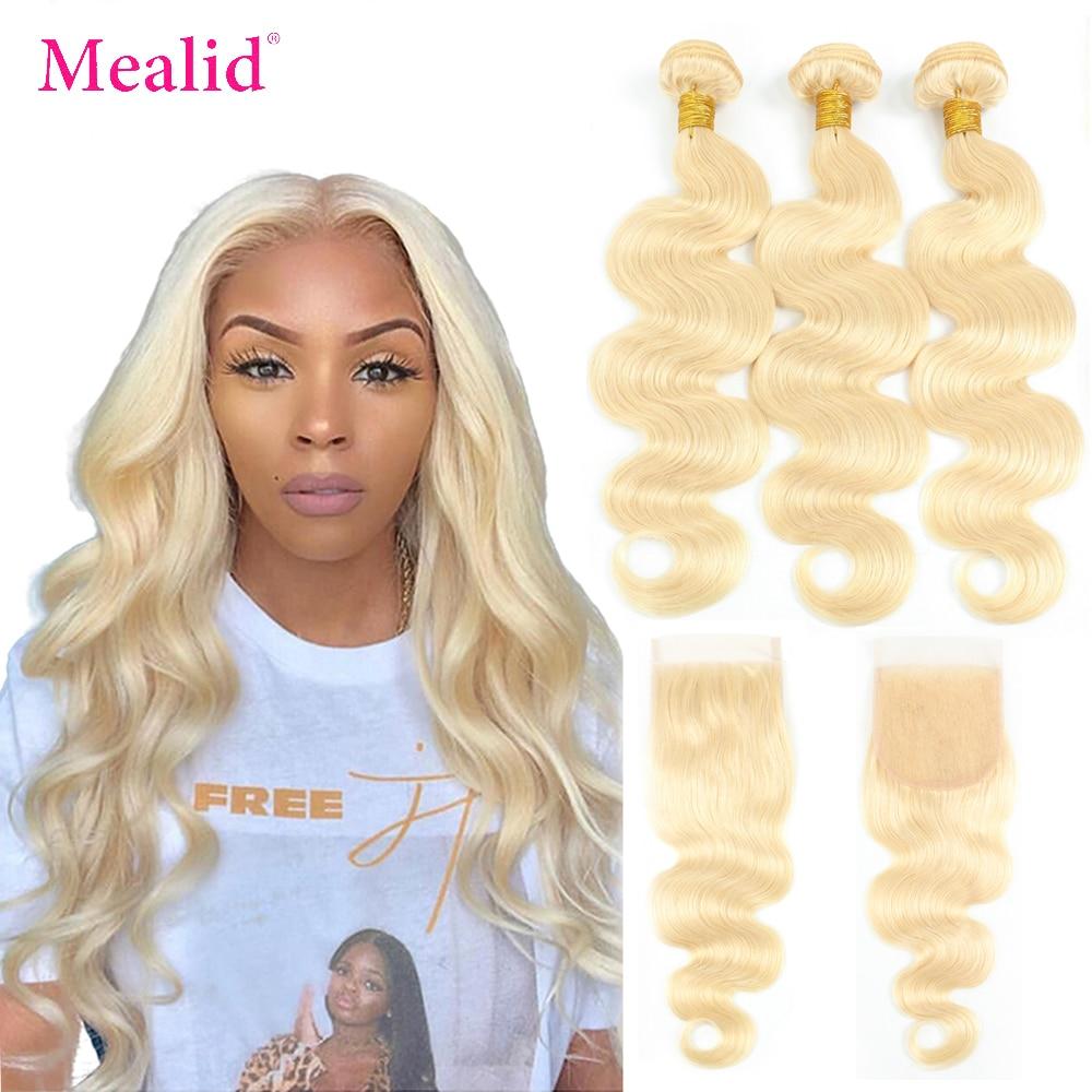 Mealid 613 светлые волнистые волосы, волнистые пучки с кружевной застежкой, перуанские человеческие волосы Remy, пучки с застежкой, можно окрашива...