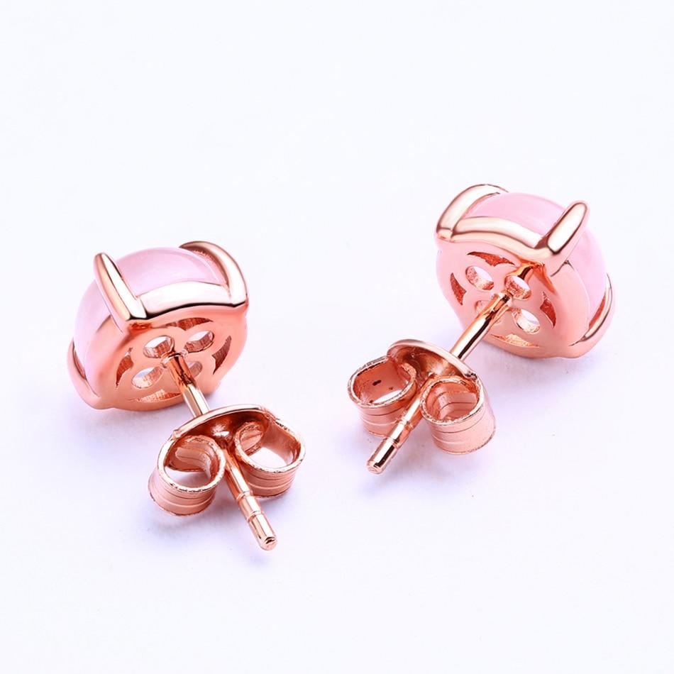 ALLNOEL 2019 New S925 Rose Quartz Pendant Earrings Natural Pink Gemstone Lovely Dog Charm Link Chain Choker Earrings  Jewelries (5)