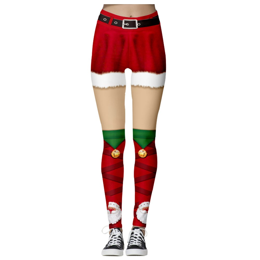 Santa Claus red Yoga winter 3D Christmas print Women Fashion High Waist Yoga Christmas Print Running Sports Pants Trouser