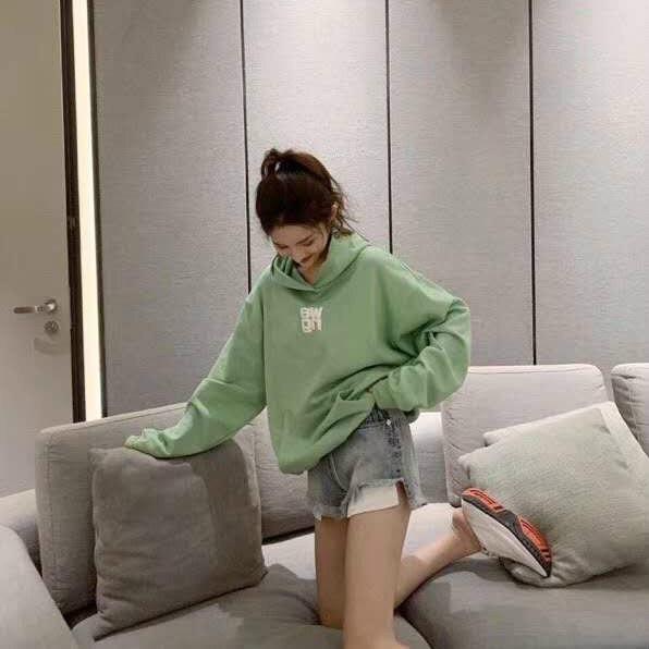 Loose Three-dimensional Letter Print Logo Green Hoodies Sweatshirt Women Long Sleeve A2