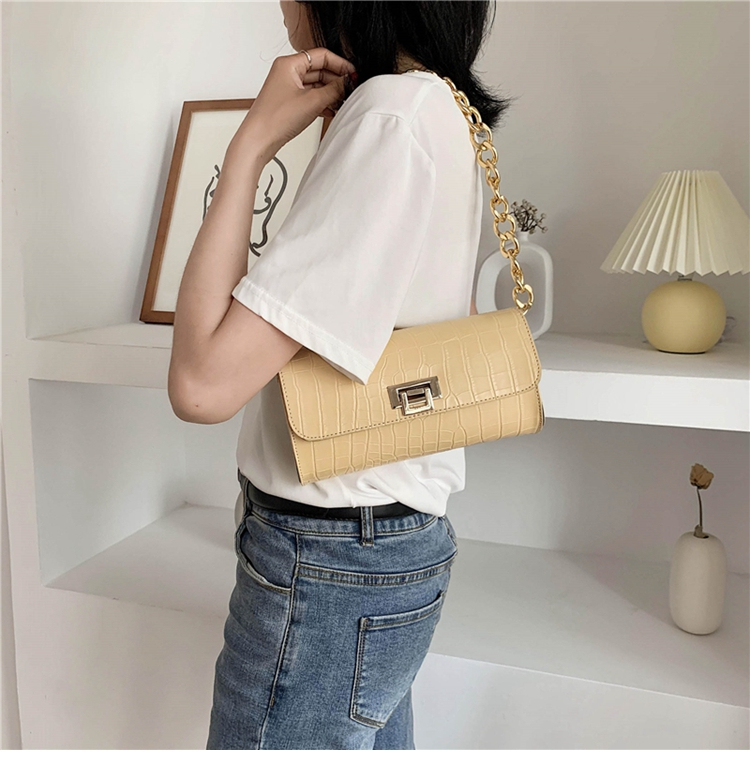 Crocodile Pattern Vintage Soild Color Small Square Bag For Women 2020 summer Handbag And Small Chain Bags Fashion Armpit Bag (9)