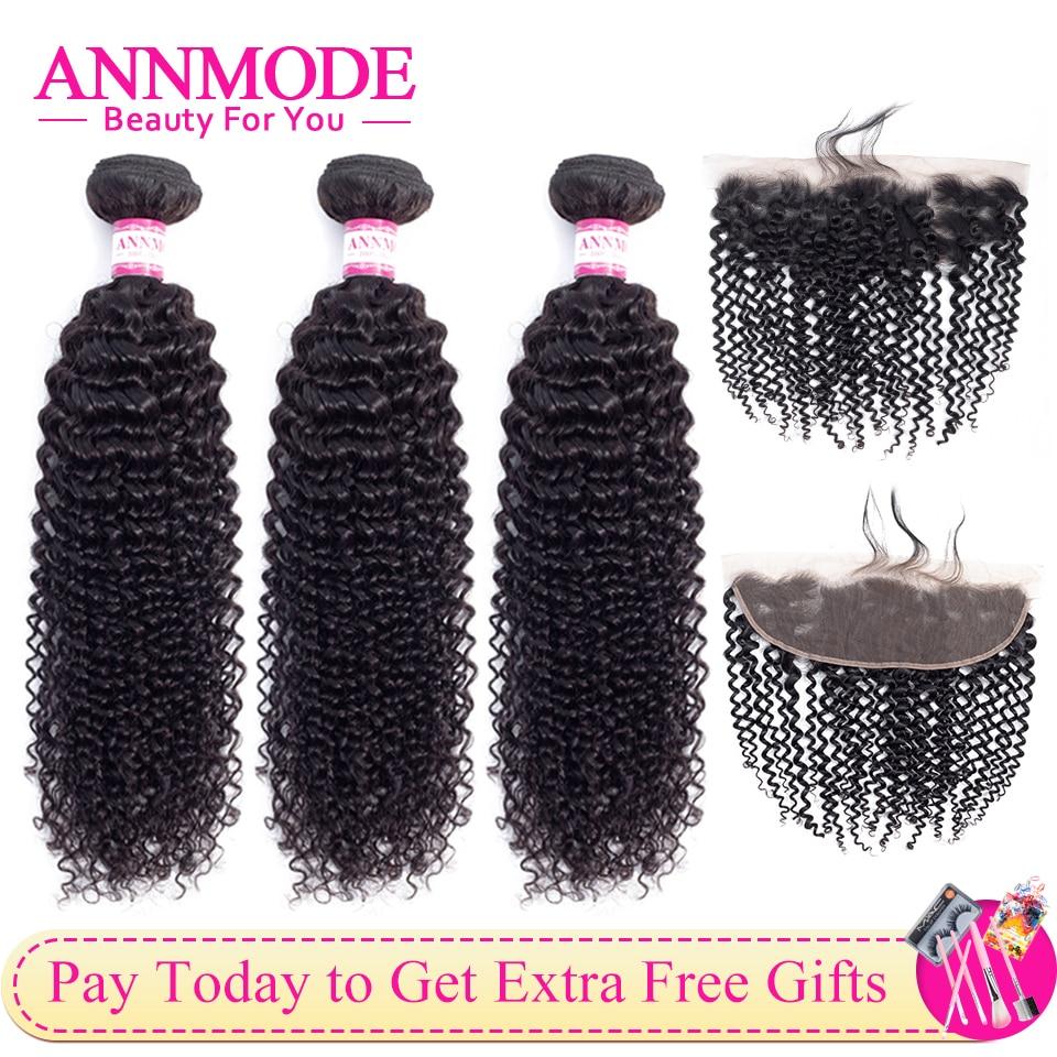 Annmode brasileiro kinky curly 3 pacotes com frontal do cabelo humano não remy extensão do cabelo cor natural
