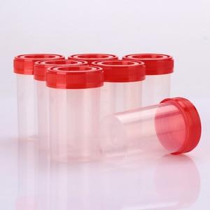 Image 2 - 50 ピース/セット標本ボトルサンプルカップ使い捨て Nosodochium 容器テスト 60 ミリリットル便利な病院検査ガラス便利なツール