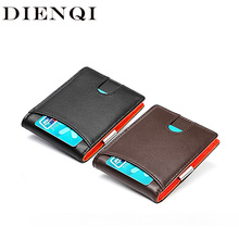 DIENQI Genuine Leather Men Wallets Money Bags Rfid Slim Thin Wallet