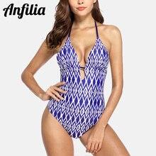 цена на Anfilia Womens V-Neck One Piece Swimwear Floral Print Monokini Bathing Suit Deep Plunge Padded Sexy Swimsuit Sexy Bikini