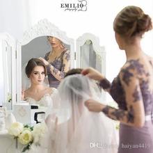Русалка Sheer шеи длинные рукава платья невесты кружева аппликация иллюзия вернуться vestido де феста Лонго 2018 сиреневые платья