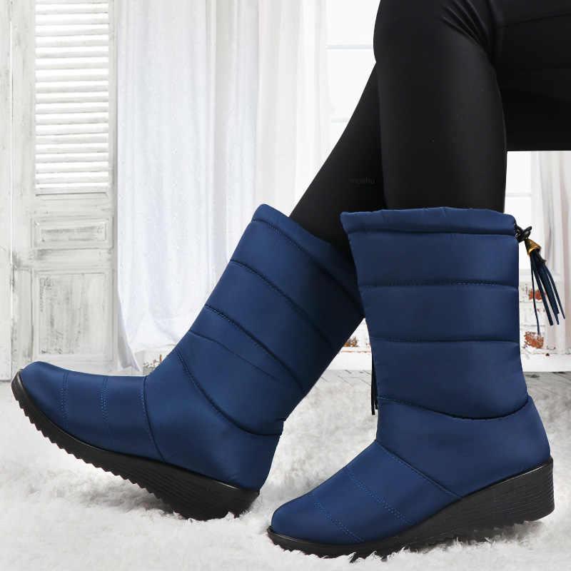"""Chống thấm nước Mùa Đông Ủng Nữ Mắt Cá Chân Giày Lông Thú Sang Trọng Xuống Giày Tua Rua Đen Nữ Boot Thời Trang Botas Mujer """"Invierno 2020"""