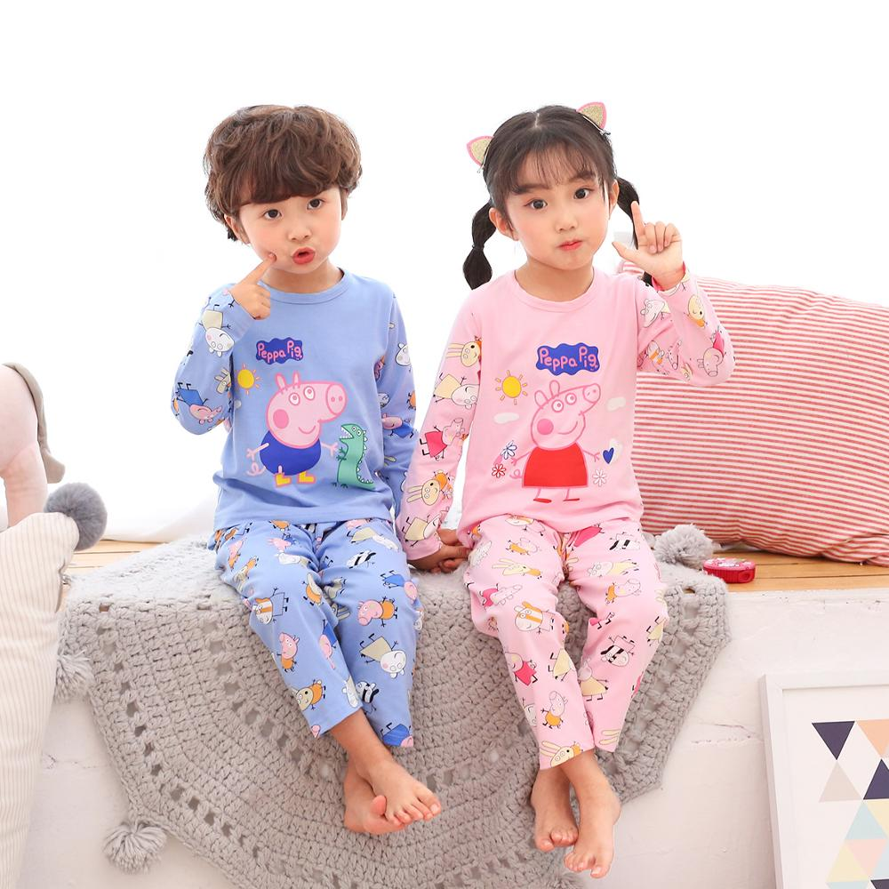 Peppa Pig George Boy Girl Pajama Summer Sleepwear Suit Nightwear Pajama Clothes Long Sleeve Cartoon Pajama Set Children's Pujama