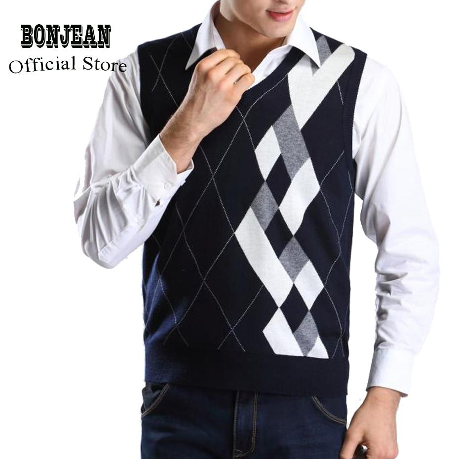 Designer Sweater Pullover Knit Vest For Men Sleeveless Wool Stylish Fashion Casual V Neck Basic Black Grey Checkered 2018 0825