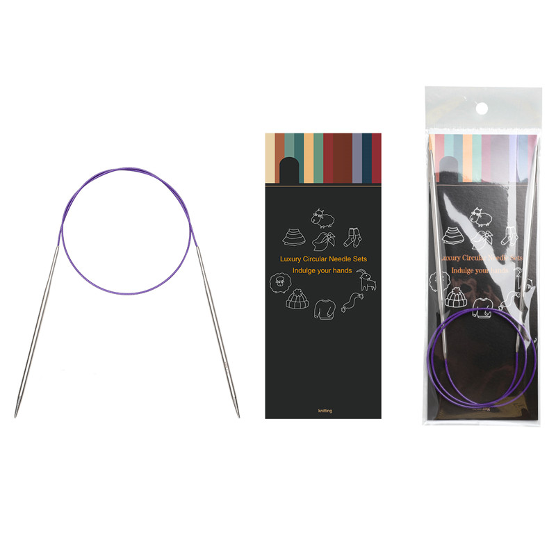 43cm//65cm//80cm 11 Pairs High End Stainless Circular Knitting Needles Set Sweater Needle Kit with Steel Wire Lace 43cm