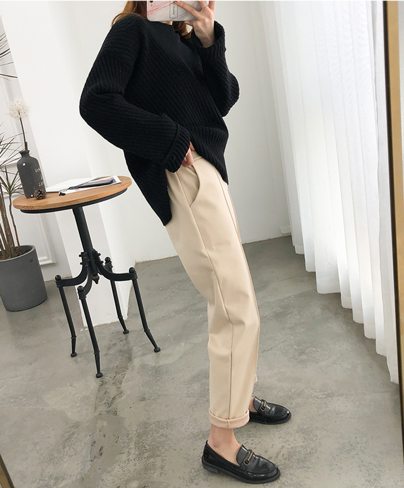 H69048c3de3424cb789ab5da851495f78R - Thicken Women Pencil Pants Autumn Winter Plus Size OL Style Wool Female Work Suit Pant Loose Female Trousers Capris 6648 50