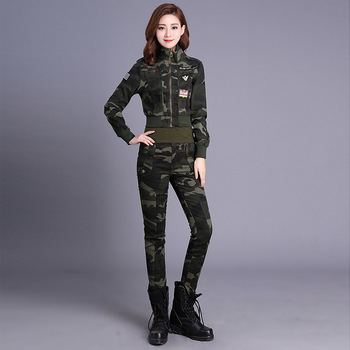 Spring And Autumn New Women Cotton Camo Hiking Jacket Outdoor Camping Hiking Breathable Pants Army Fan Vest L-4XL Tactical Suit