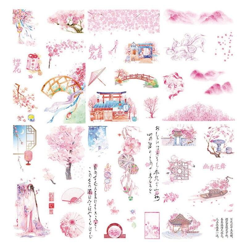 6pcs/pack Japanese Stickers Pink Sakura Cherry Blossom Sticker For Bullet Journal Scrapbooking DIY Gift Card Album Stickers