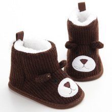 Newborn Baby Boys Girls Shoes Winter Cartoon Bear Baby Boots Knit Soft Sole Kids Snow Boots Baby Bear Shoes Baby Winter Boots cheap Wheat Turtle COTTON Cotton Fabric Flat with Flower Mid-Calf Round Toe Fits true to size take your normal size Hook Loop