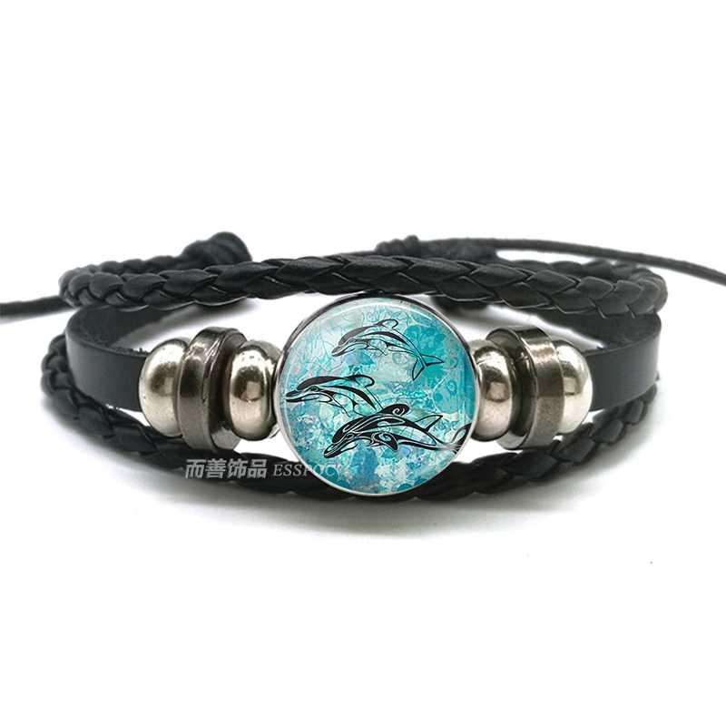 Żółwiem morskim bransoletka żółwiem morskim ośmiornicy delfin rozgwiazda paciorki szklane przycisk bransoletka Anklet Punk Style mężczyźni kobiety moda