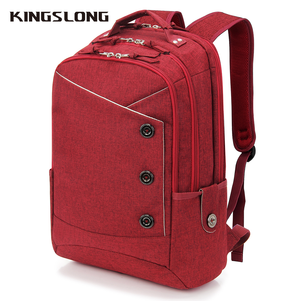 KINGSLONG 15.6 Inch Laptop Backpack Female Mochila  For Teenagers Fashion School Backpack Linen Casual Bags Travel Bag For Women