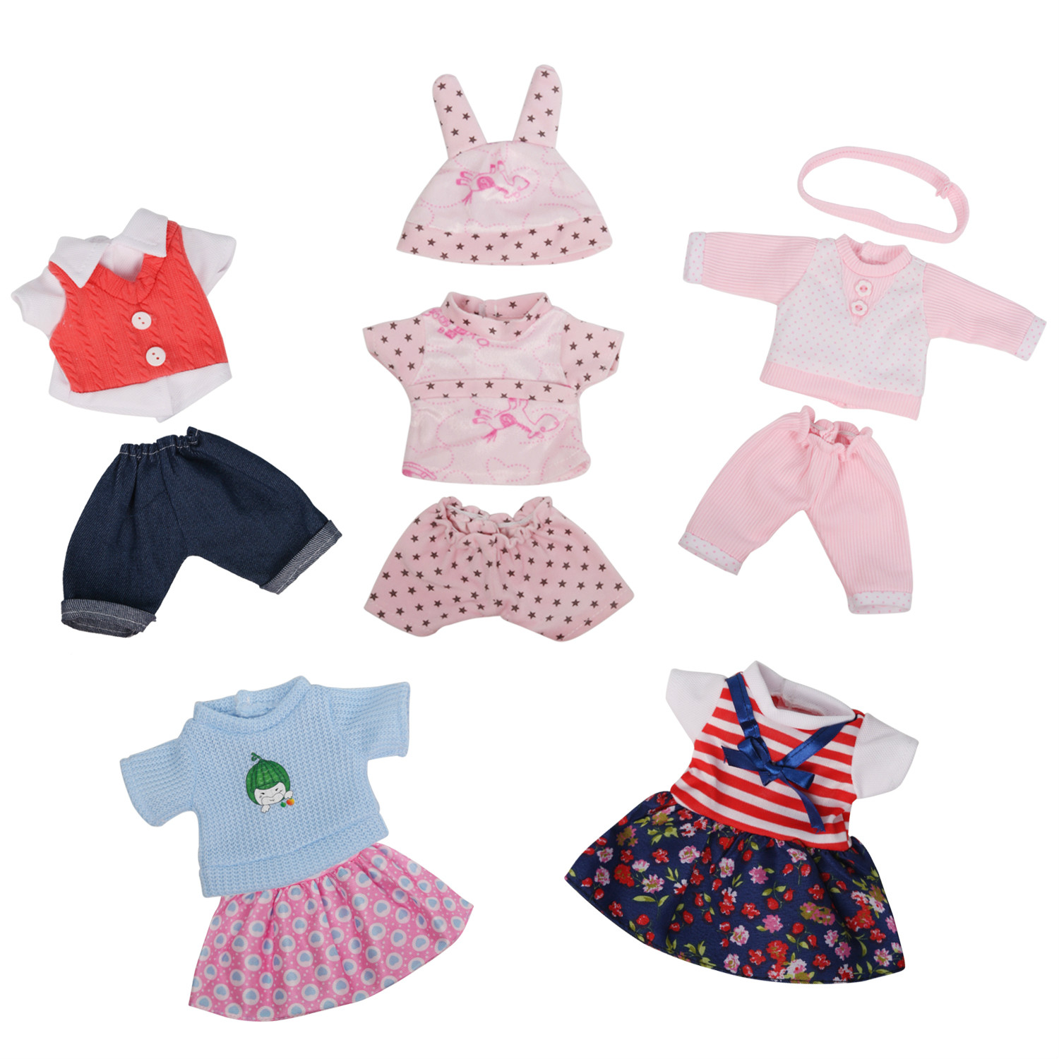 одежда для кукол 5Suits <font><b>Doll</b></font> Clothes for 12 Inch <font><b>Doll</b></font> New Born Baby Girl Dress Clothes Outfits Costumes Gown <font><b>Doll</b></font> Girl's Toy Set image
