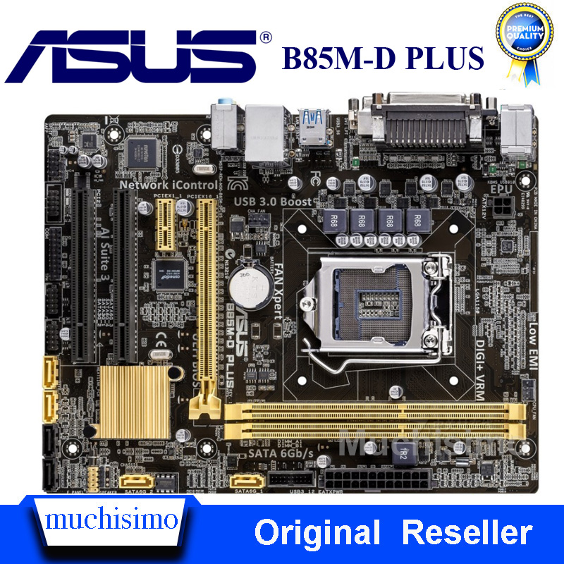 ASUS B85M-D PLUS Mainboard <font><b>Socket</b></font> LGA1150 DDR3 USB3.0 SATA3 PCI-E3.0 Original Desktop for Intel B85 Computer Motherboard Used image