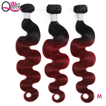 May Queen Pre-colored Ombre Brazilian Body Wave Hair Burgundy Bundles T1B 99J Red Color Remy Human Hair Weave 8a ombre brazilian body wave virgin hair 4 bundles blonde 1b burgundy human hair cheap short brazilian body wave bob hair weave