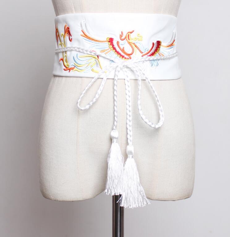 Women's Runway Fashion Embroidery Satin Cummerbunds Female Dress Corsets Waistband Belts Decoration Wide Belt R2250