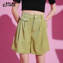 Wide-Leg-Shorts Daily-Bottoms ELFSACK Black High-Waist Casual Women Summer Ladies Solid