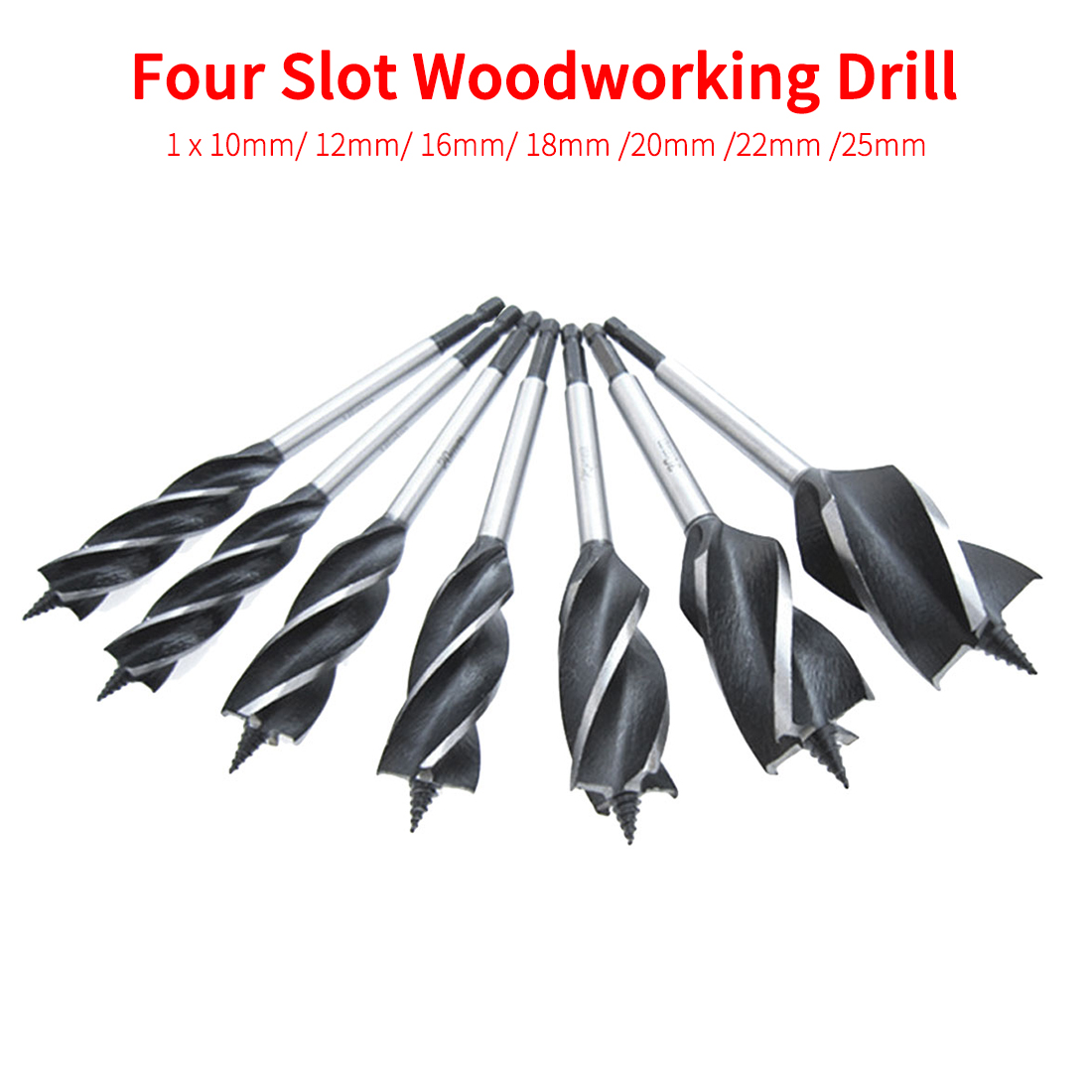 Twist Drill Bit Set Wood Fast Cut Auger Carpenter Joiner Tool Drill Bit For Drawer/ Door Lock/ Woodworking Hex Shank 10mm-25mm