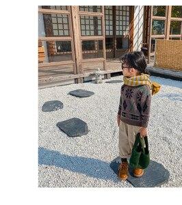 Image 5 - בנות סוודר עם מלא שרוול ילדים רך בד סרוג קרדיגן ילדים בגדים מקרית משובץ דפוס רופף יוניסקס בסוודרים סוודר
