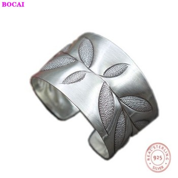 Handmade s925 sterling silver women's bracelet Thai silver retro beautiful leaf carving opening 925 pure silver female bracelet