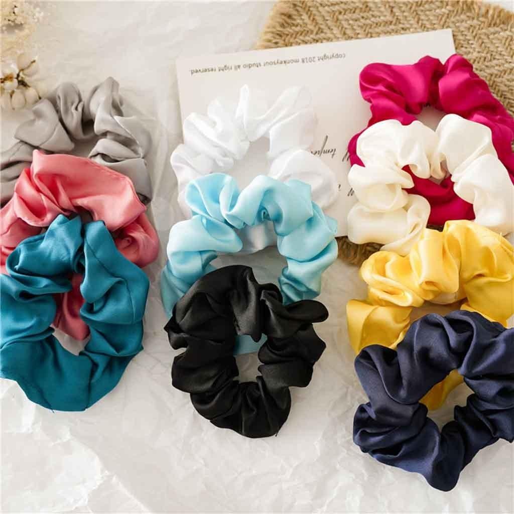 Plain Colours Chiffon Scrunchies Hair Ring Hair tie Ponytail Holder Rubber Band