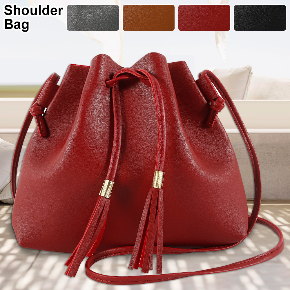 2020 Fashion Women High Quality Vintage Bucket Bag Tassel Messenger Retro Shoulder Handbag Simple Crossbody Tote Bags