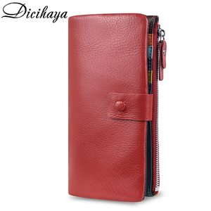 Image 2 - DICIHAYA Soft Genuine Leather Wallet Womens Coin Purse Phone Bag Multi card Bit Card Holder COW Purse Contrast Color Billetera