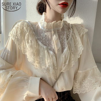 Autumn Korean Sweet Loose Clothes Lace Up Ruffled Women Blouses Fashion Stand Collat Ladies Tops Vintage Lace Shirts Women 11335