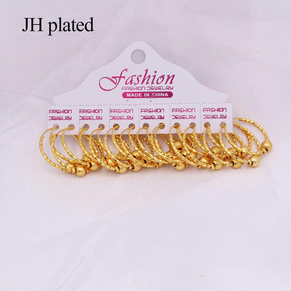 אוזן טבעות יוקרה 24K זהב חישוקי pircing תכשיטי עגילי לנשים עגול חישוק עגילי אפריקה ערב הסעודית כלה המפלגה עגילים