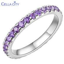 Cellacity Новое поступление 925 пробы Серебряное кольцо для женщин с круглым фиолетовым аметистом драгоценные камни Свадебная вечеринка подарок