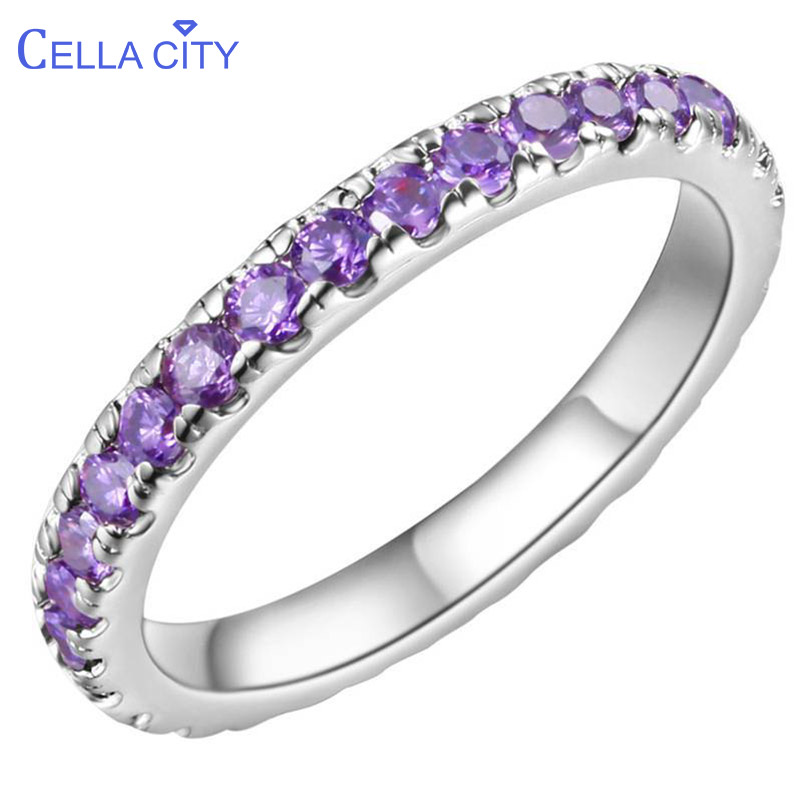 Cellacity New Arrivals 925 Sterling Silver Ring For Women With Round Purple Amethyst Gemstones Wedding Party Wholesale Gift