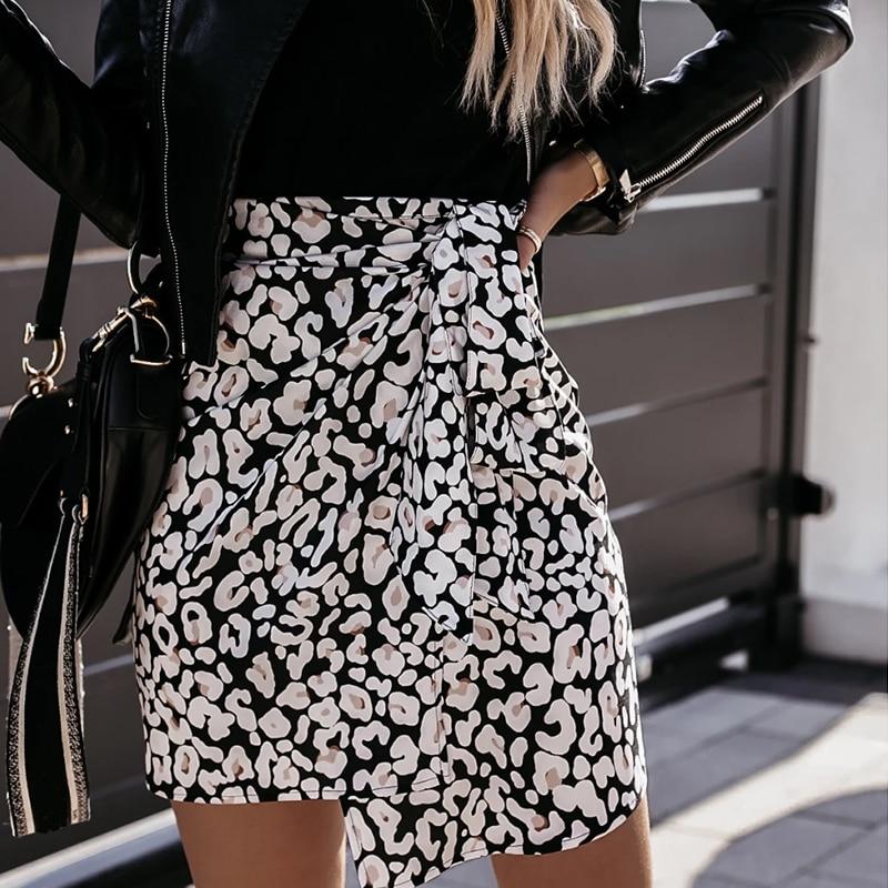 Frauen Hohe Taille Leopard Print Mini Wrap Rock Herbst Beiläufige Dünne Bandage Fladas Weibliche Elegante Unregelmäßigen Bodycon Kurze Röcke