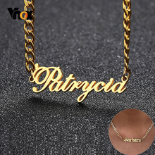 Vnox Three Colors Name Necklace Personalized Pendant for Women Arial Old English Font