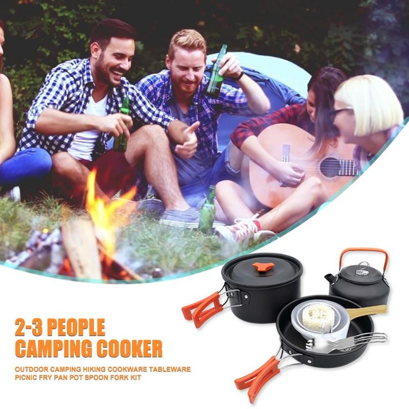 Outdoor Pot Classic Delicate Texture Outdoor Camping Hiking Cookware Picnic Fry Pan Kettle Teapot Foldable Fork Kit|Outdoor Tablewares| |  - title=