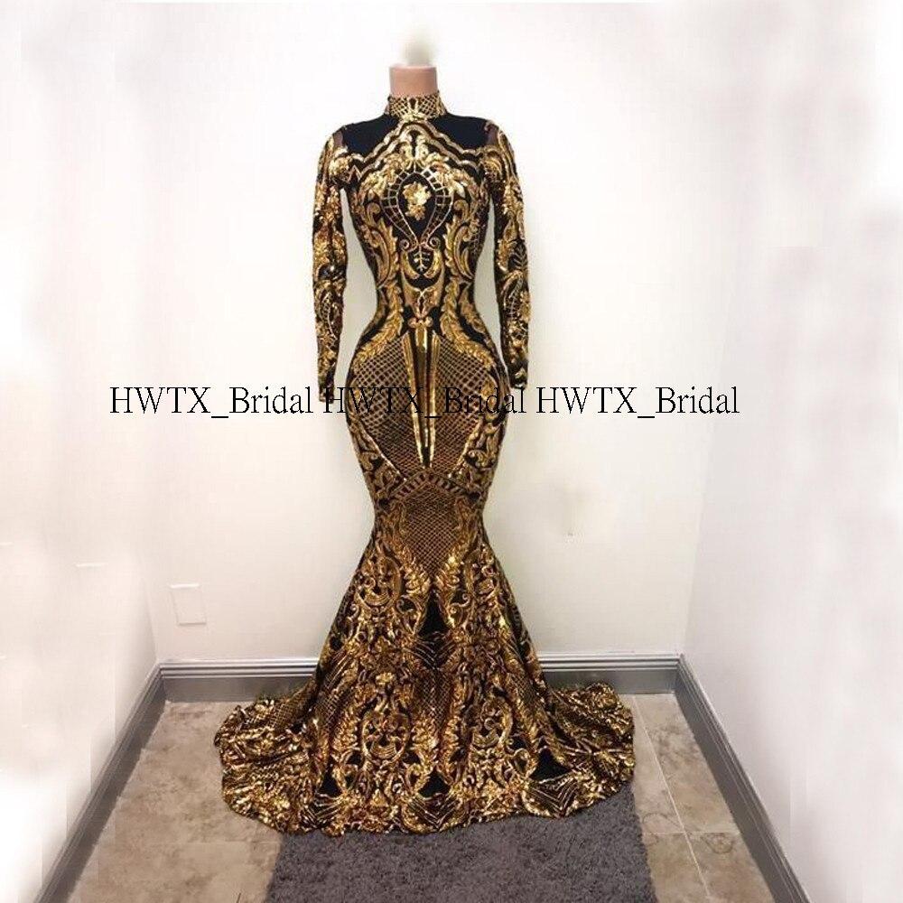 Ouro e preto africano vestidos de baile 2020 mangas compridas alta pescoço sparkly lantejoulas sereia baile baile formal vestido de festa personalizado