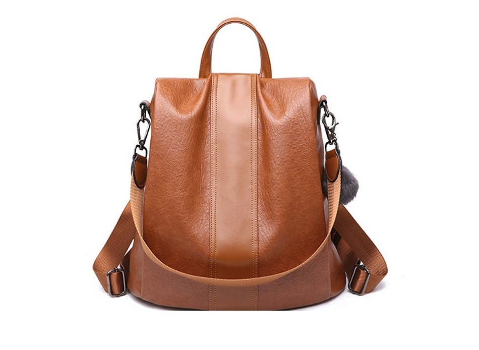 H6905af400412460a8a77aa678d9c95a06 HERALD FASHION Quality Leather Anti-thief Women Backpack Large Capacity Hair Ball School Bag for Teenager girls Male Travel Bags