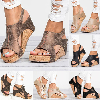 Women Sandals Platform Sandals Wedges Shoes Women Heels Gladiator Sandalias Mujer Summer Shoes Peep Toe Wedge Heels Sandals women sandals casual peep toe platform sandals summer flat shoes women bow knot espadrilles high heels sandalias mujer 2020