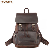 PNDME anti-theft high quality genuine leather men's women's backpack crazy horse cowhide travel bagpack vintage laptop bookbags
