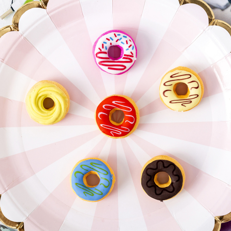 6pcs/set Candy Doughnut Eraser Stationery Student Learning Eraser Supplies