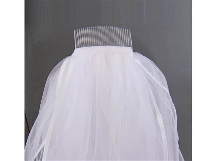 NUOXIFANG In Stock Cheap Velos de Noiva Two Layers Ribbon Edge Wedding Veil White Ivory Short With Comb Simple Bridal Veil 2020