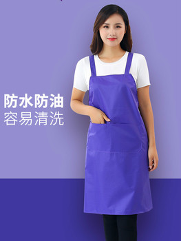 Waterproof apron work fashion women's kitchen oil-proof smock overalls adult men custom logo printing wq002 kitchen oil proof cloth apron black