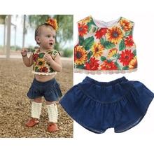 0-4Y Baby Girl Clothes Toddler Kid Little Girls Summer Sunflower Crop Top T-Shirt Jean Skirt Short 2pcs Outfit Set